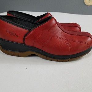 Dansko @ Work Red Leather Clog Rubber Sole 38 7.5